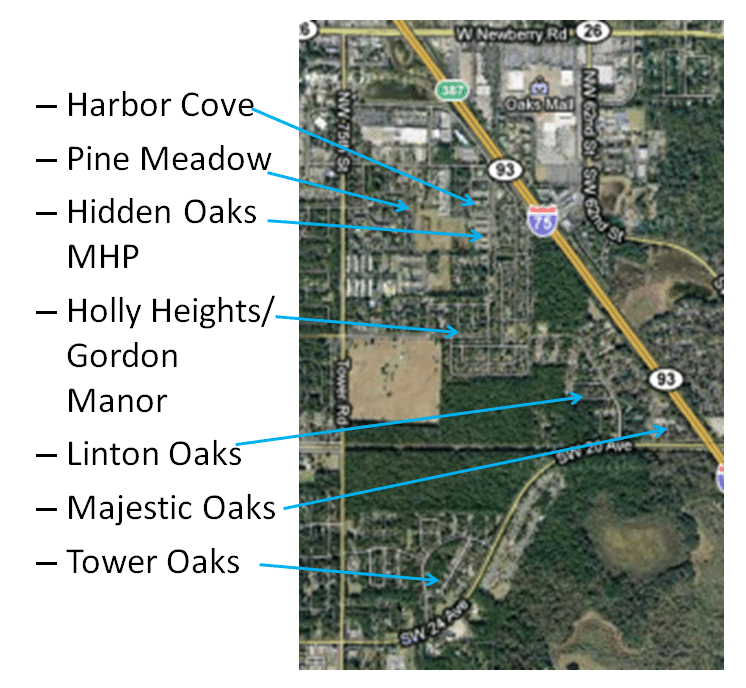 A map of Harbor Cove, Pine Meadow, Hidden Oaks MHP, Holly Heights/Gordon Manor, Linton Oaks, Majestic Oaks, & Tower Oaks
