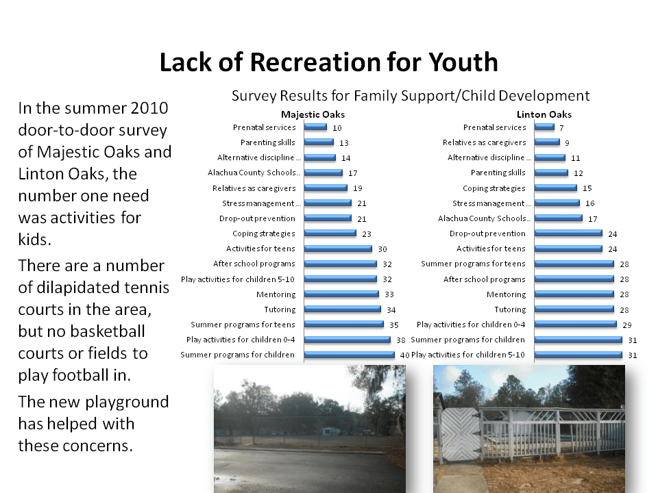 In the summer of 2010 door-to-door survey of Majestic Oaks and Linton Oaks, the number one need was activities for kids.