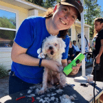 A volunteer smiling at the camera while giving a small dog a haircut outside the SWAG Family Resource Center