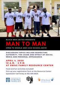 April 4: Black Men United Presents Man to Man!