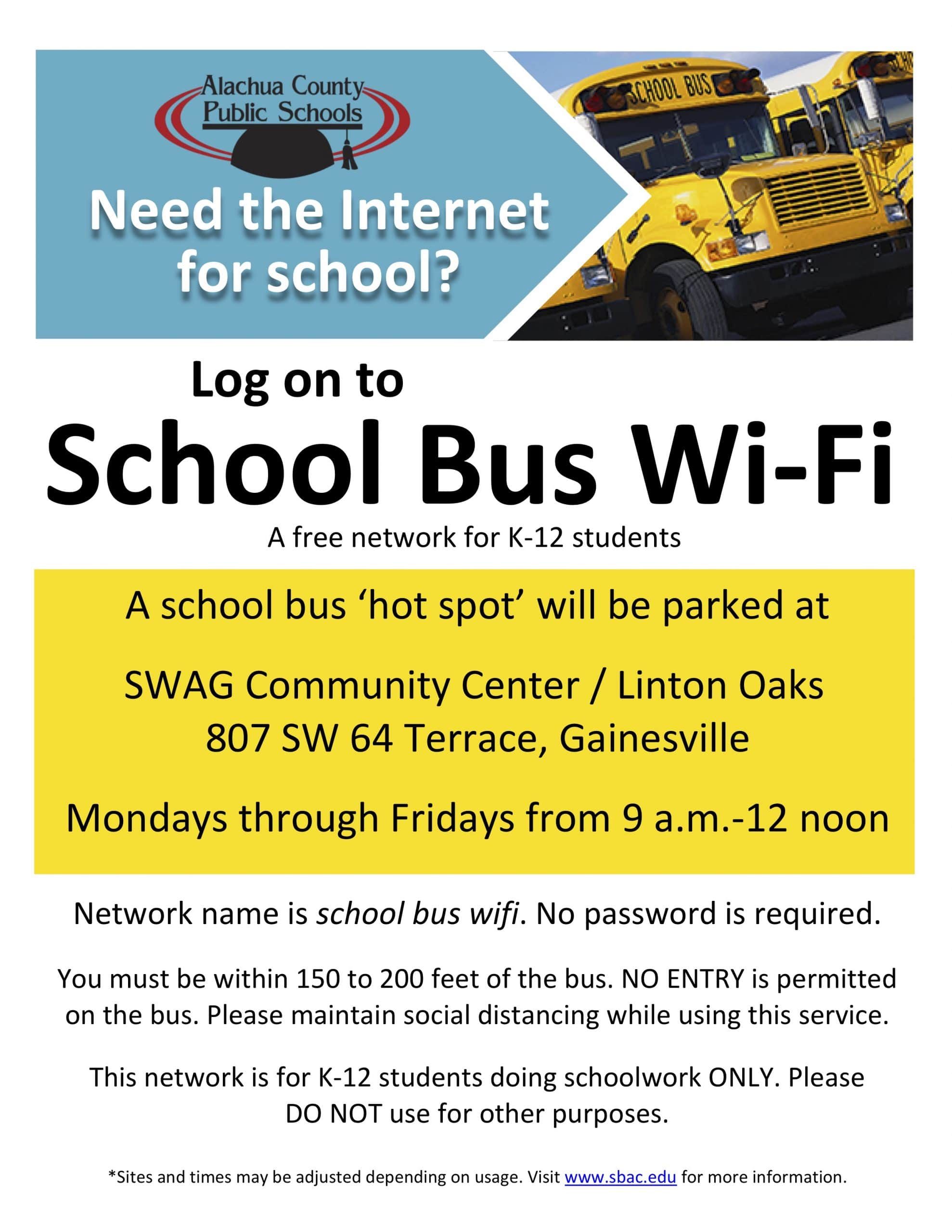 Free School Bus Wi-Fi for K-12 Students!