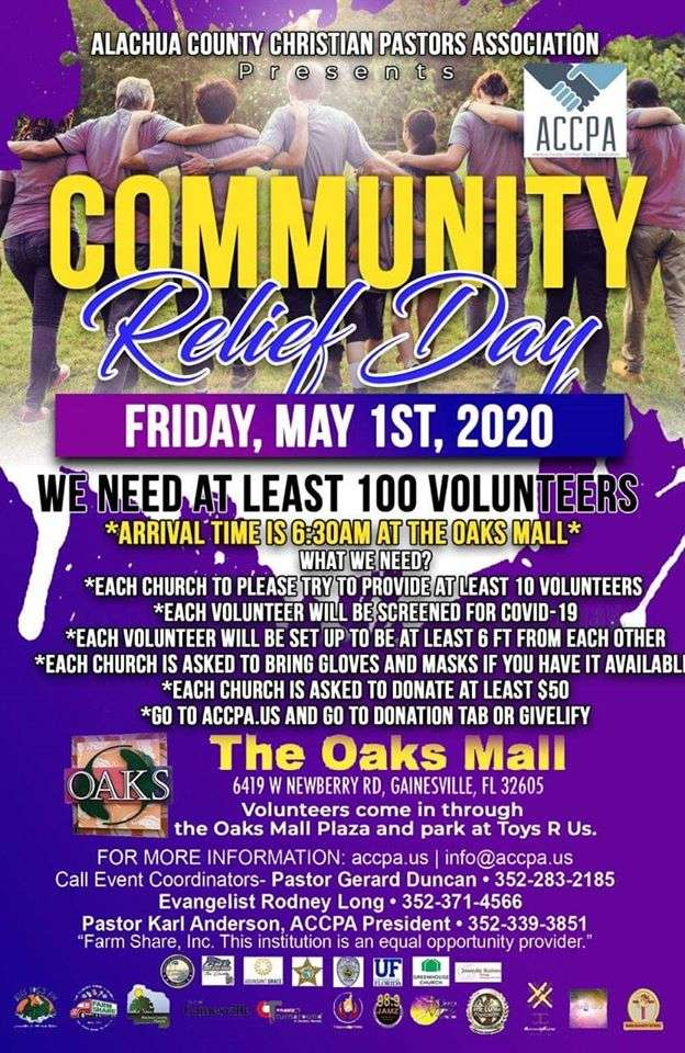 Community Relief Day May 1st at The Oaks Mall!