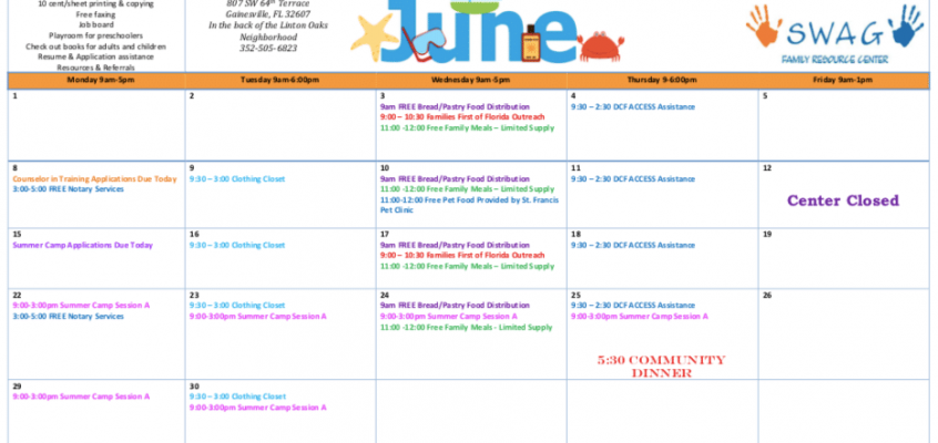 June Calendar Available Now!