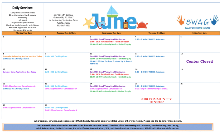 June Calendar Available Now!