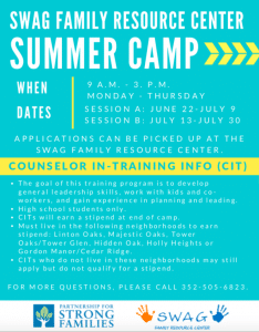Paid Opportunity for High School Students with the SWAG Family Resource Center Summer Camp