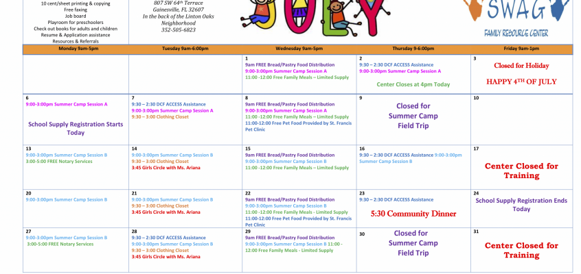 SWAG Family Resource Center July Calendar