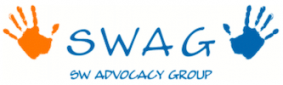 The SW Advocacy Group (SWAG) logo with orange and blue handprints