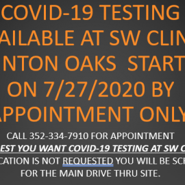 COVID-19 Testing Available at the SW Health Clinic