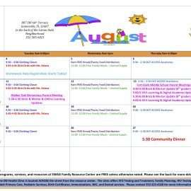 The August 2020 Calendar for the Family Resource Center is Available!