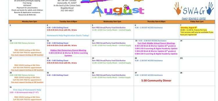 The first page of the August 2020 Calendar, available in PDF at https://www.pfsf.org/app/uploads/August-2020-Calendar.pdf