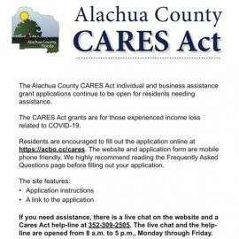 Alachua County CARES Act Applications Are Still Open