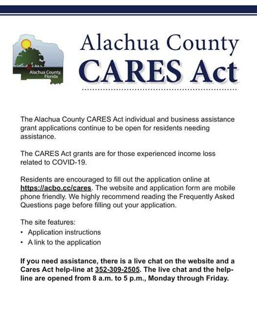 The Alachua County CARES Act individual & business assistance grant applications remain open for residents needing assistance