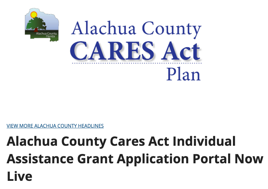 A headline stating that the Alachua County Cares Act Individual Assistance Grant Application Portal is now live