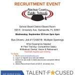 A flyer advertising an upcoming recruitment event for bus driver job openings with ACPS. Details are included on this page.