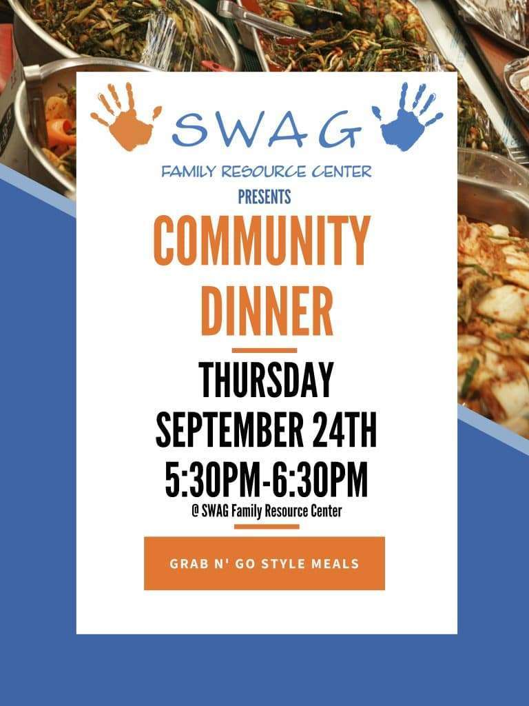A flyer for the September Community Dinner. The information is on this page.
