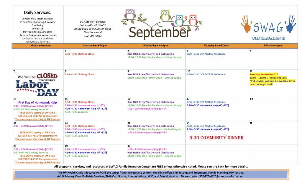 The September 2020 Calendar can be accessed at swadvocacygroup.org/wp-content/uploads/2020/09/Septmber-2020-Calendar.pdf
