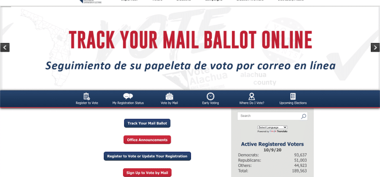A screenshot of the Alachua County Supervisor of Elections website home page, which has information about voting