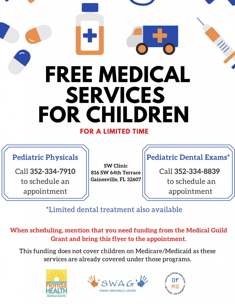 A flyer for free medical services for children. See the caption for a PDF download.