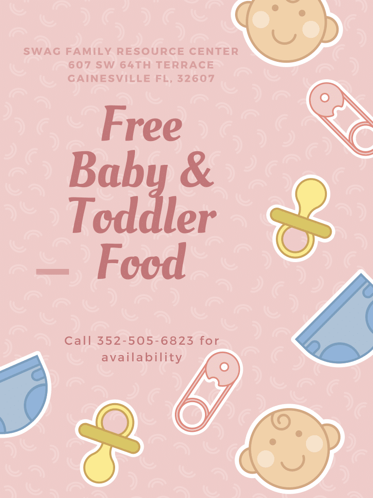 A flyer for free baby and toddler food. See the caption for a PDF download.