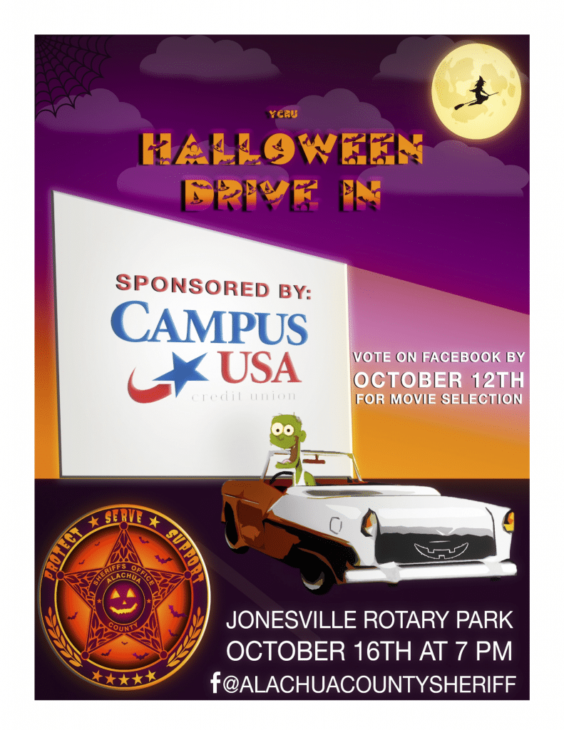 A flyer for the Halloween event drive-in movie by the Alachua County Sheriff's Office. Information is on this page.