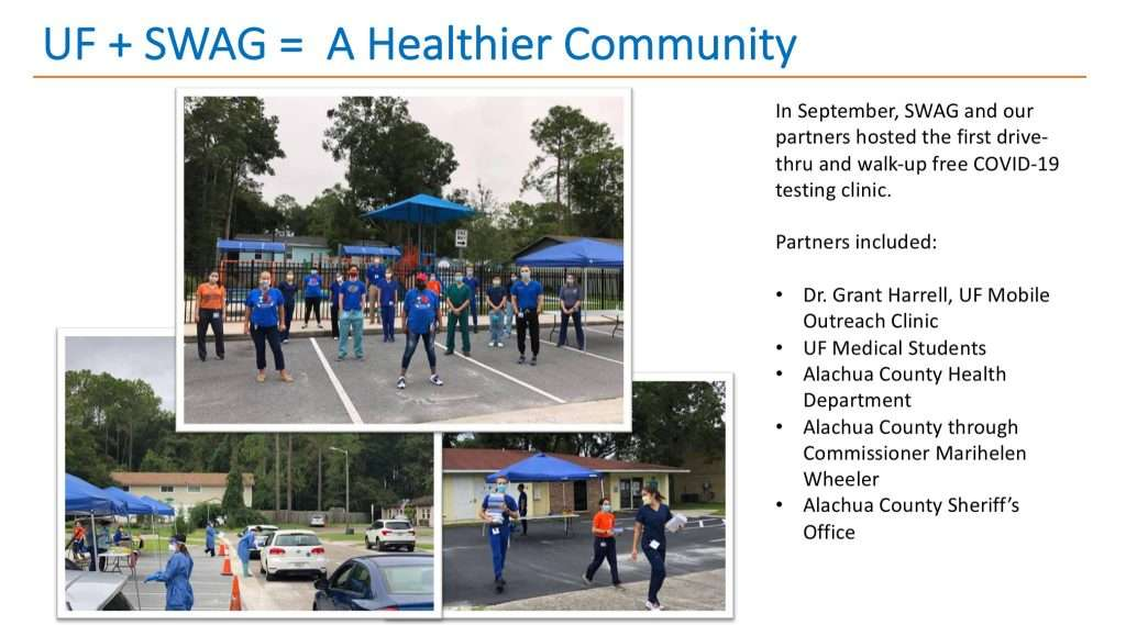 SWAG participates in the UF Campaign for Charities. We and our partners hosted a free COVID-19 testing clinic in September.