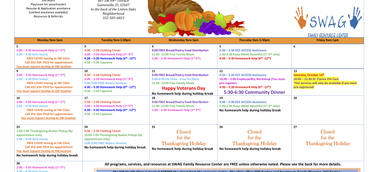 The November 2020 Calendar. See the Family Resource Center page for PDF download.