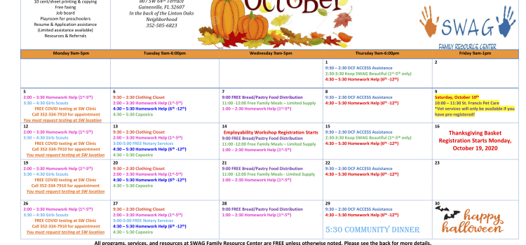 The October 2020 Calendar. The calendar can be downloaded in PDF format from the Family Resource Center page.