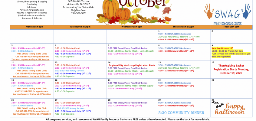 The October 2020 Calendar is Available for Download