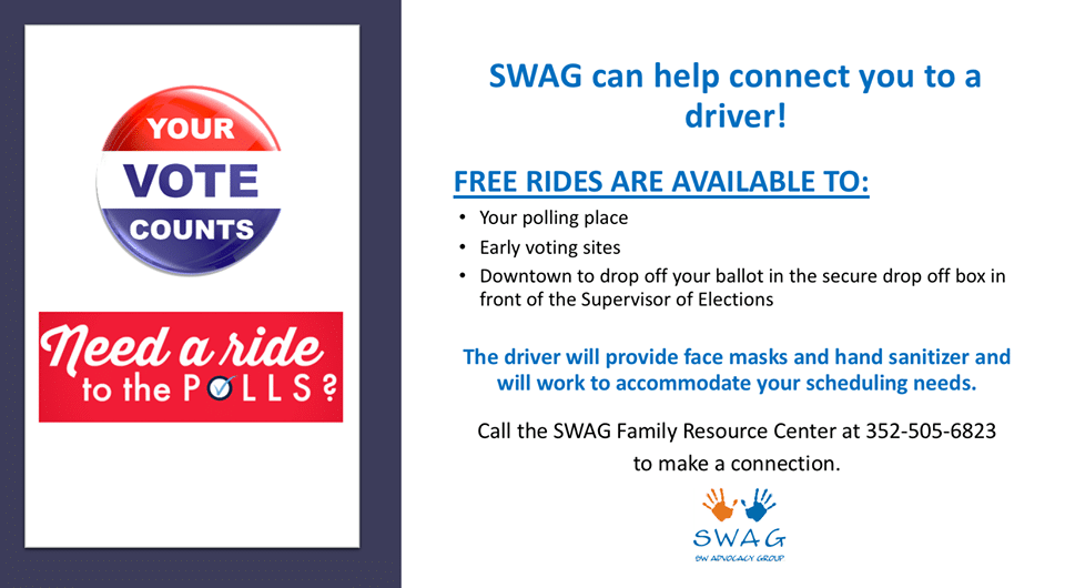A flyer stating that SWAG can help voters who need a ride to the polls. Full information is on this page.
