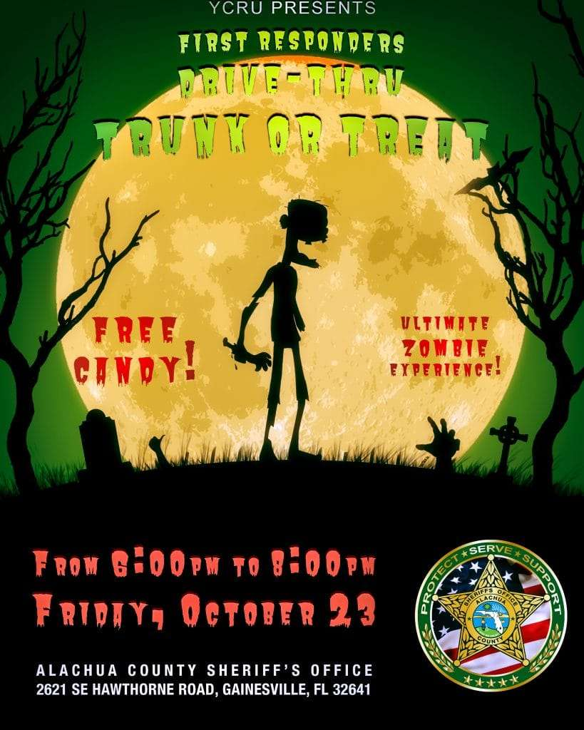 "A flyer for the Halloween drive-thru ""trunk or treat"" by the Alachua County Sheriff's Office. Information is on this page."