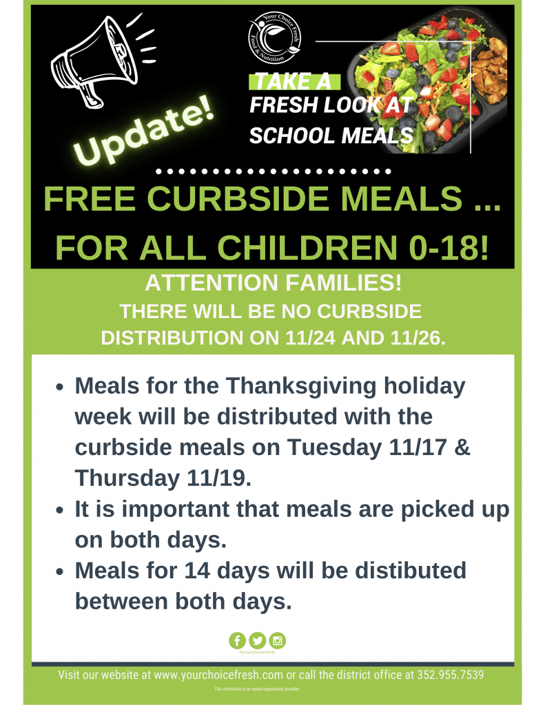 A flyer advertising the return of free meals for all children ages 0-18. A PDF version is available in the caption.