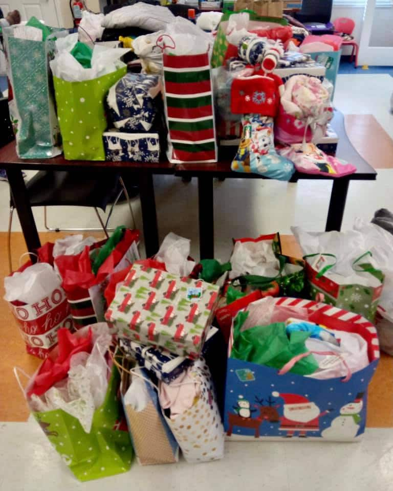 A pile of gifts for SWAG families from nurses and doctors in Shands' Interventional Radiology department