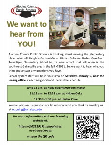 A flyer with information about school rezoning input visits. The PDF file is linked in the caption.