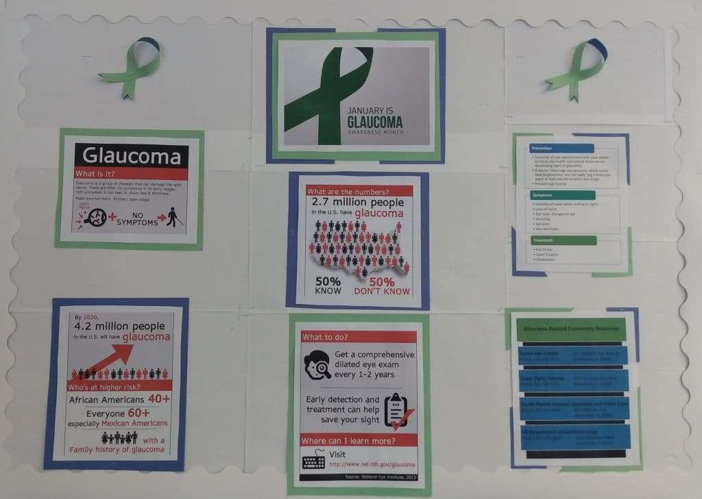 The January 2021 Bulletin Board, focusing on glaucoma awareness. It encourages readers to get an eye exam every 1-2 years.