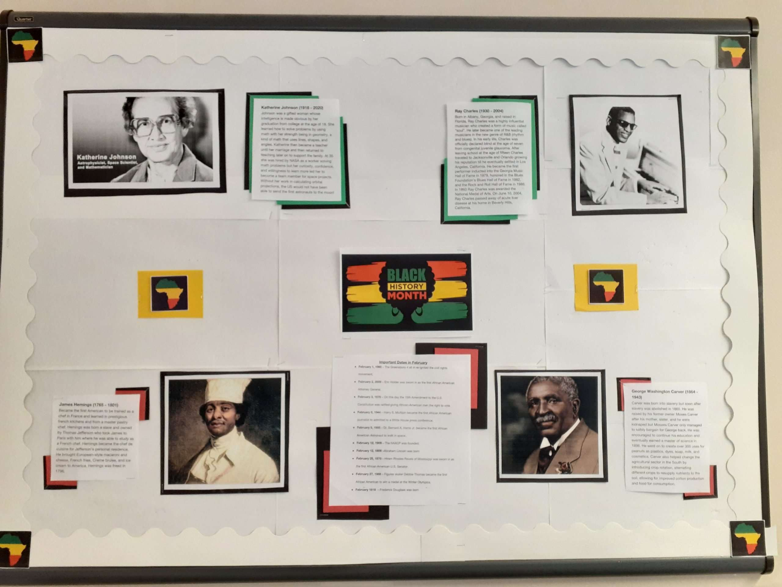 A community bulletin board for Black History Month, featuring four Black historical figures who are not often talked about