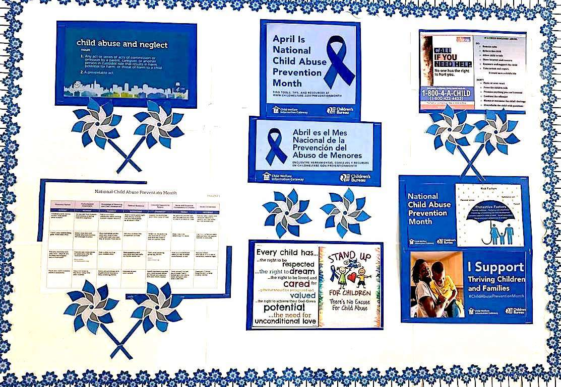 The April 2021 Community Board, focused on National Child Abuse Prevention Month