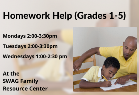 A flyer for weekday afternoon homework help for students in grades 1-5, available at the SWAG Family Resource Center