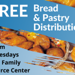 A flyer for free bread & pastry food distribution every Wednesday at 9:00am from the SWAG Family Resource Center
