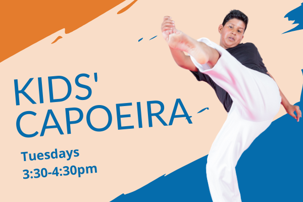 A flyer for kids' capoeira classes at the SWAG Family Resource Center on Tuesdays from 3:30-4:30pm