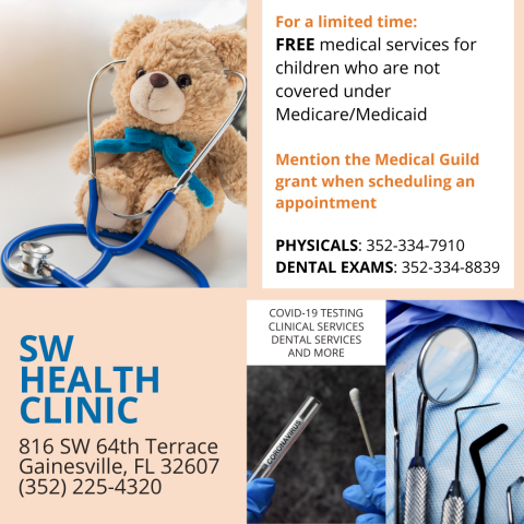 A flyer for the SW Health Clinic, listing medical, dental, and pediatric services. See the SW Health Clinic page for details.