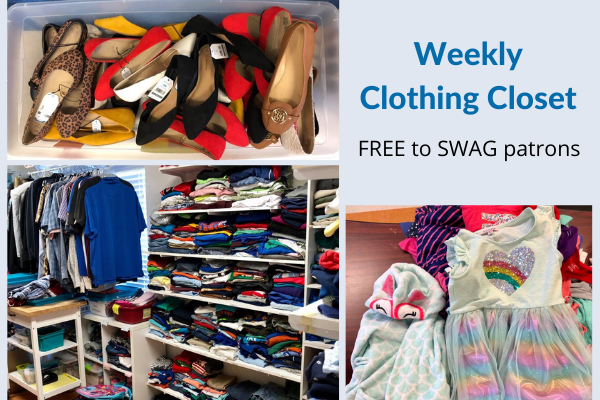 A flyer for the clothing closet at the SWAG Family Resource Center, open Tuesdays