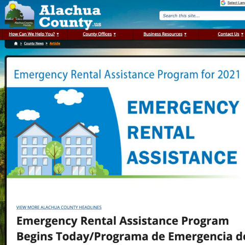 A screenshot of the program announcement for Emergency Rental Assistance on the Alachua County website.