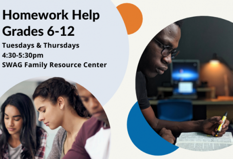 A flyer for weekday afternoon homework help for students in grades 6-12, available at the SWAG Family Resource Center