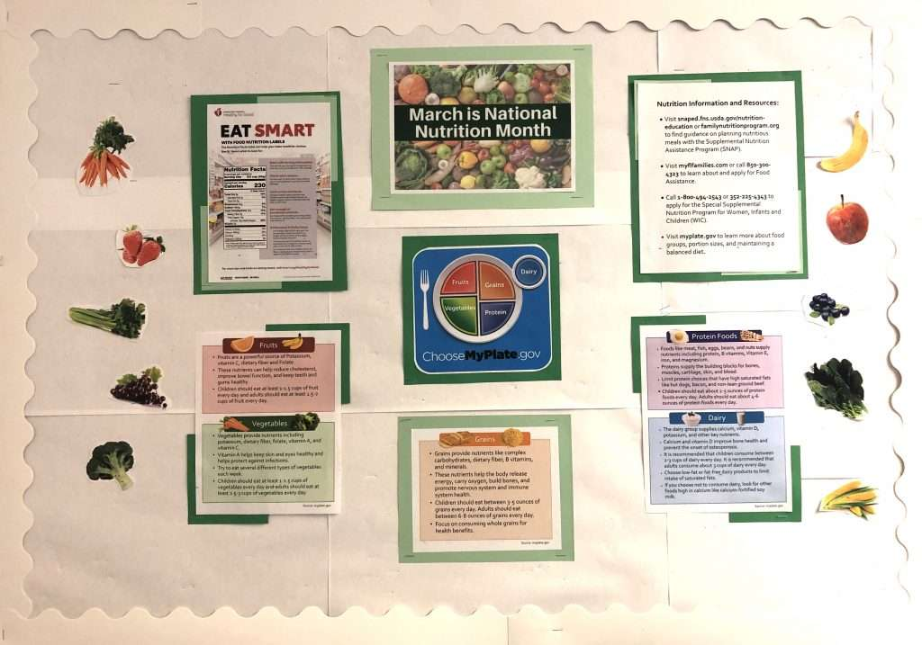 The March 2021 Community Board, focused on National Nutrition Month