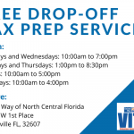 A flyer for free tax prep services available at the United Way of North Central Florida office every weekday