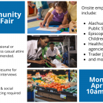 A flyer advertising the community job fair at the SWAG Family Resource Center on April 19, from 10am-1pm