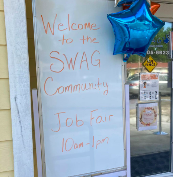 A sign at the front door of the SWAG Family Resource Center welcoming participants to the April 2021 Community Job Fair