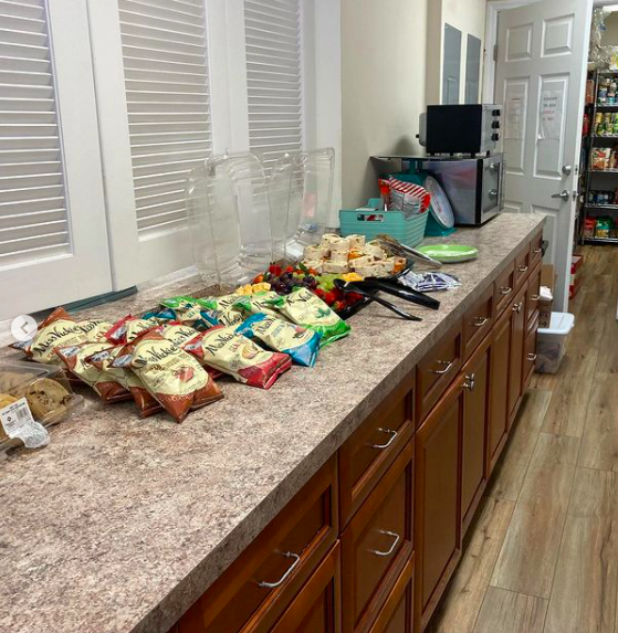 Snacks laid out in the kitchen of the SWAG Family Resource Center for the April 2021 Community Job Fair
