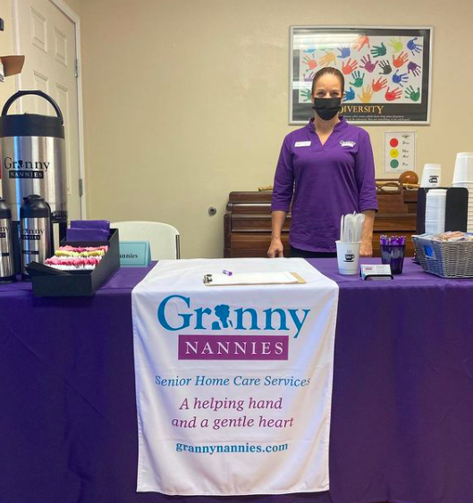 The table and representative for Granny Nannies during SWAG's April 2021 Community Job Fair