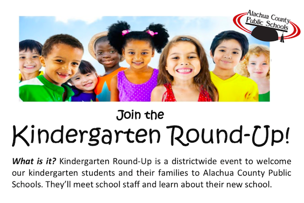 A flyer for Alachua County Public Schools Kindergarten Roundup on April 28, 2021